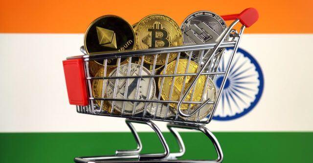 Carrinho de criptomoedas com bandeira da Índia