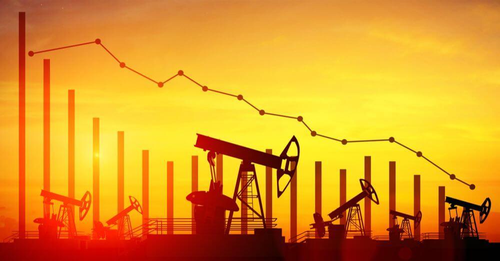Mineração de petróleo na ilustração do gráfico