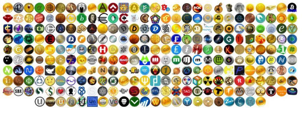 imagem com todas as logomarcas das criptomoedas