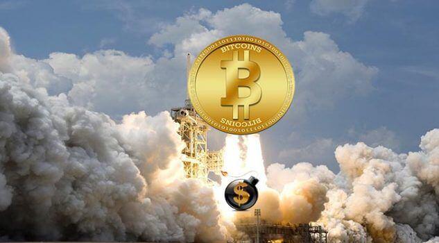 foguete subindo com o preço do bitcoin