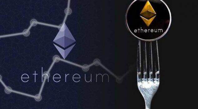 moeda de ethereum com um garfo