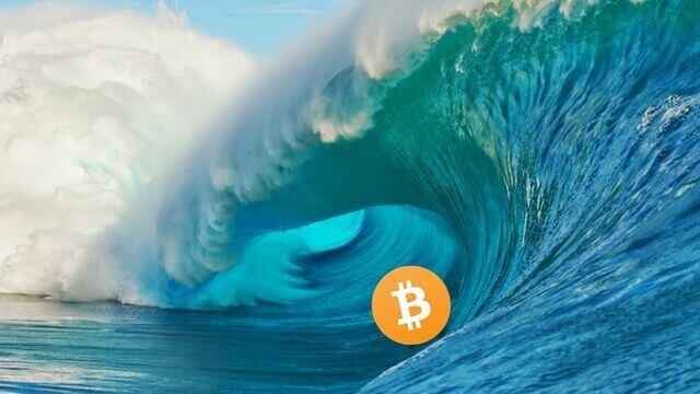 moeda de bitcoin no meio de uma onda