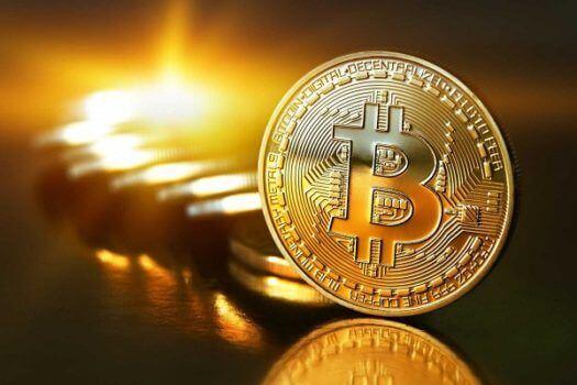 moeda de bitcoin brilhando como o ouro