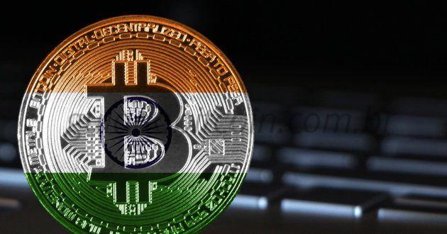 moeda bitcoin cor bandeira da Índia