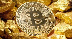 moeda de bitcoin junto a pepitas de ouro