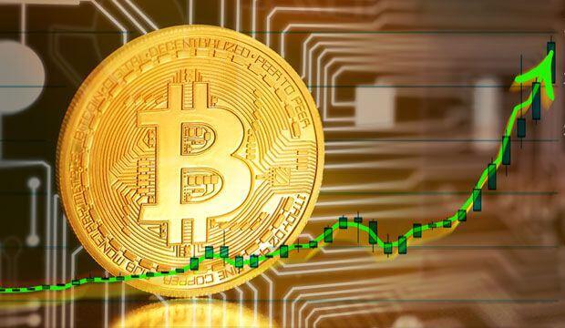 moeda de bitcoin e seta apontando para cima