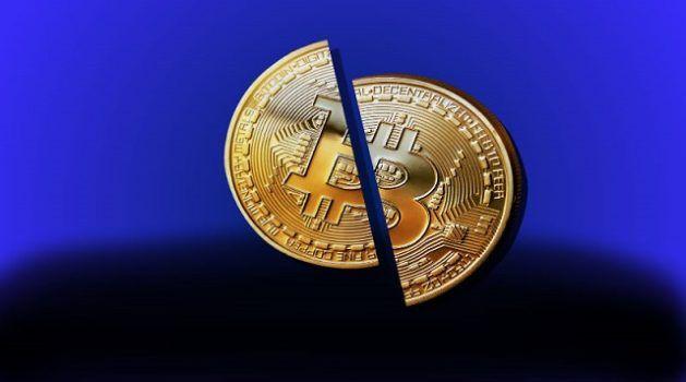imagem de um bitcoin cortado ao meio simbolizando o halving