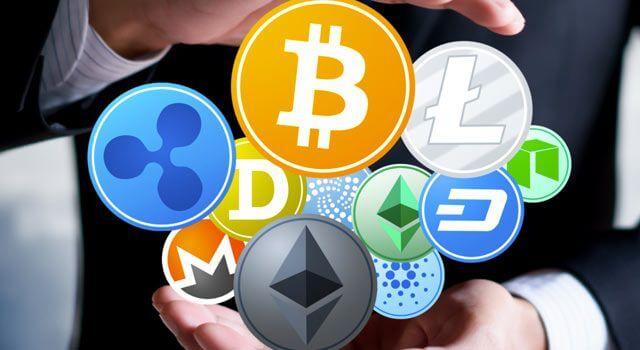 imagem com logomarca de diversas criptomoedas
