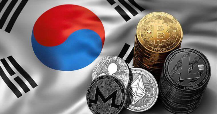 bandeira da coreia do sul e criptomoedas