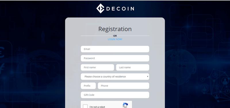 ICO de DeCoin registration