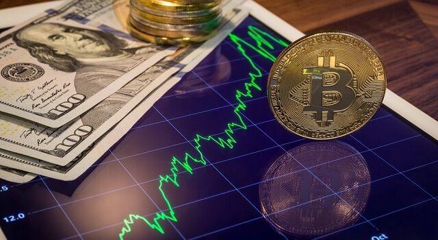 dólar e gráfico do bitcoin