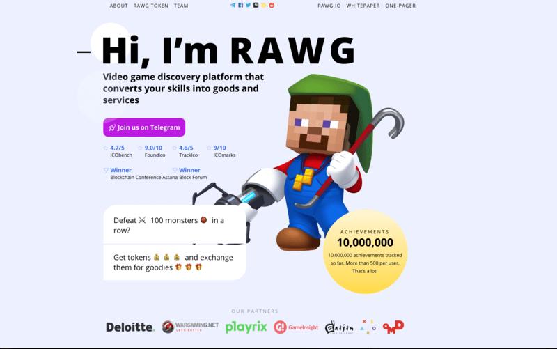 homepage de ICO de RAWG