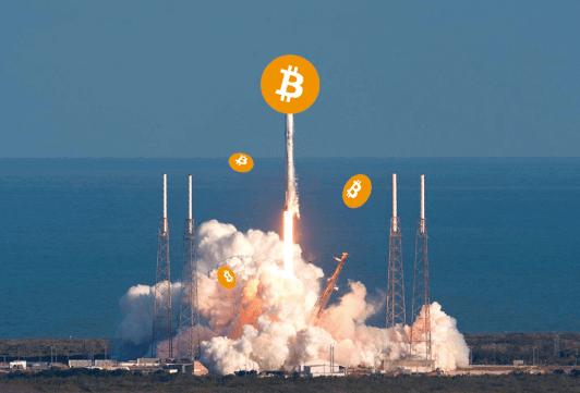 foguete de moeda de bitcoin