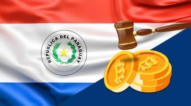 bandeira do paraguai e moeda de bitcoin
