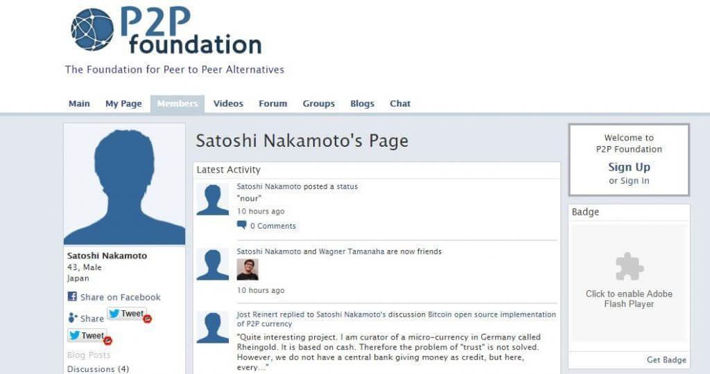 perfil satoshi nakamoto site p2p foundation