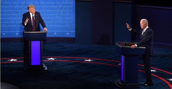 Imagem de Joe Biden e Donald Trump no primeiro debate presidencial, 2020